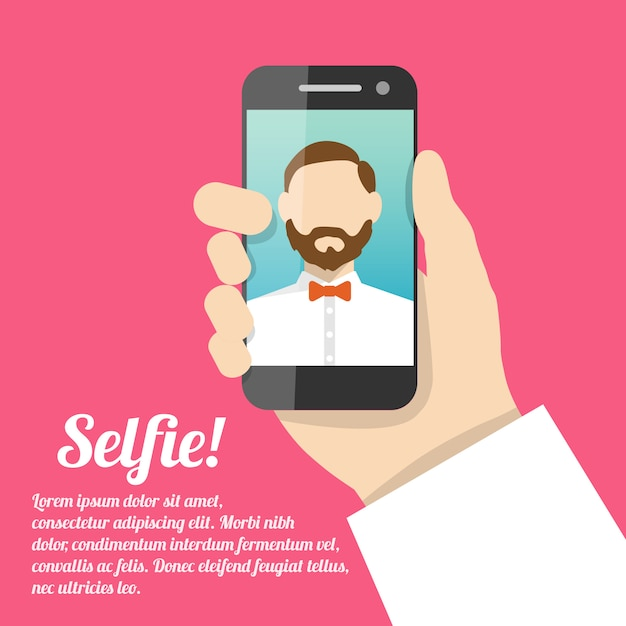 Selfie Self Portrait With Text Template Free Vector