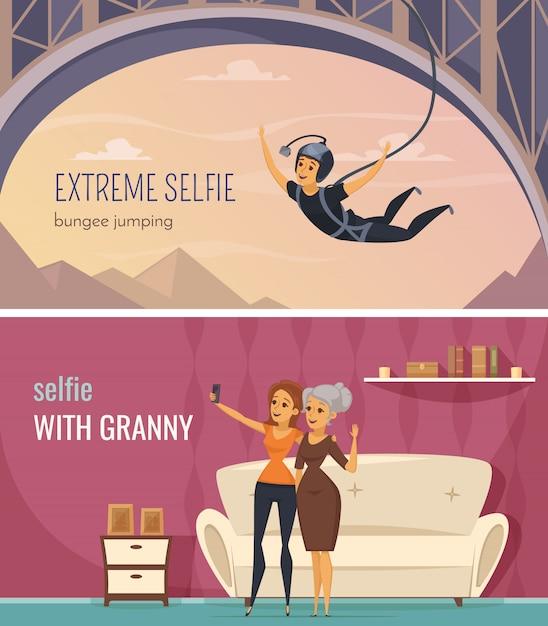 極端なと家族selfieシンボルフラット分離ベクトルイラスト入りselfie水平方向のバナー 無料ベクター