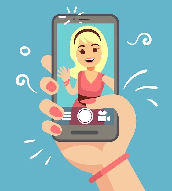 Молодая привлекательная женщина принимая фото selfie на smartphone внешнем. красивый портрет девушки на экране телефона. мультфильм векторные иллюстрации Premium векторы