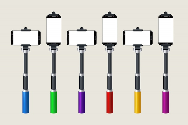Selfie stick set Premium Vector