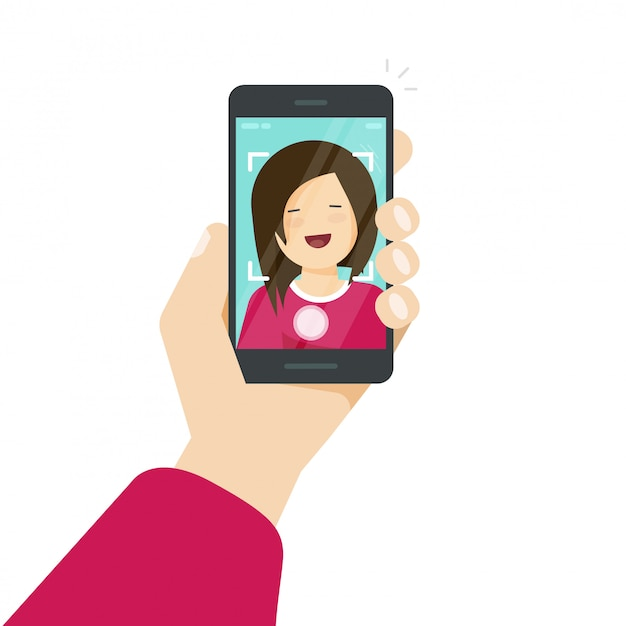 Selfie via smartphone or cellphone or photo of yourself vector illustration Premium Vector