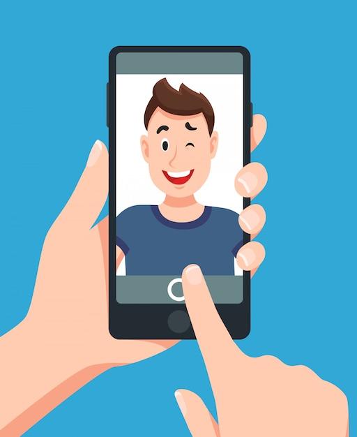 Человек, принимая смартфон selfie портрет Premium векторы