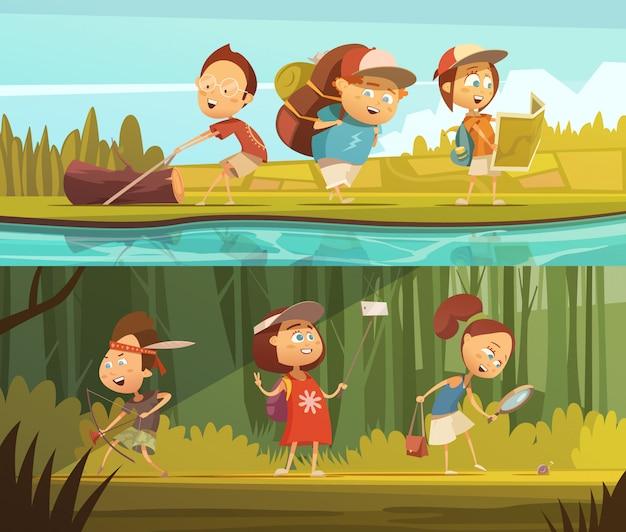 キャンプの水平漫画バナーキャンプとselfie分離ベクトルイラスト子供たち 無料ベクター