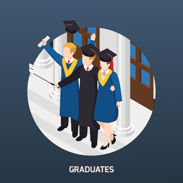 Selfie等尺性組成招待カードラウンドフレームイラストを作るアカデミック帽子の卒業証書と大学卒業生 無料ベクター