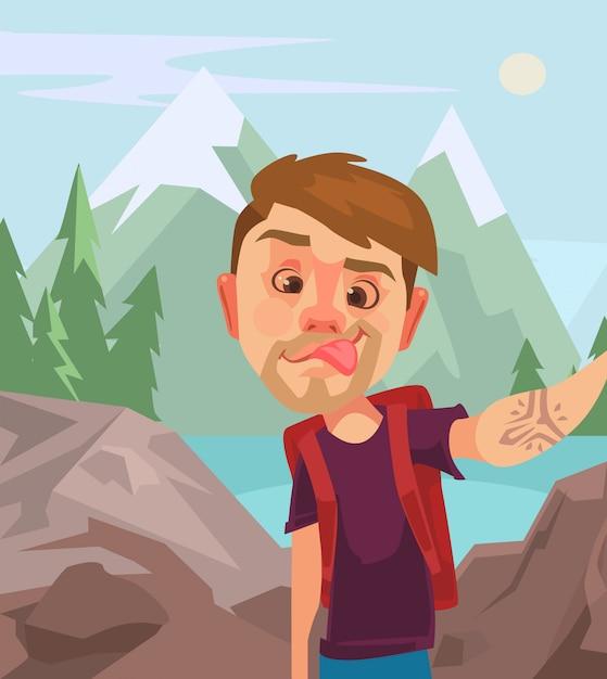 Человек туристический характер принимая selfie фото на смарт-телефон. векторная иллюстрация плоский мультфильм Premium векторы