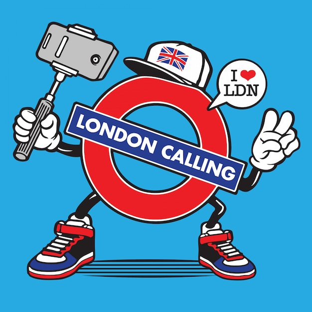 ロンドン地下鉄英国selfieキャラクターデザイン Premiumベクター