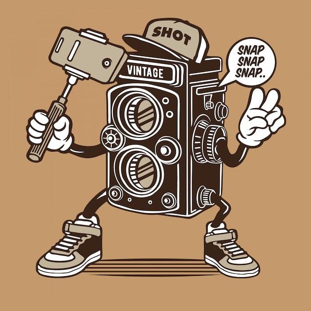 ビンテージカメラselfieキャラクター Premiumベクター