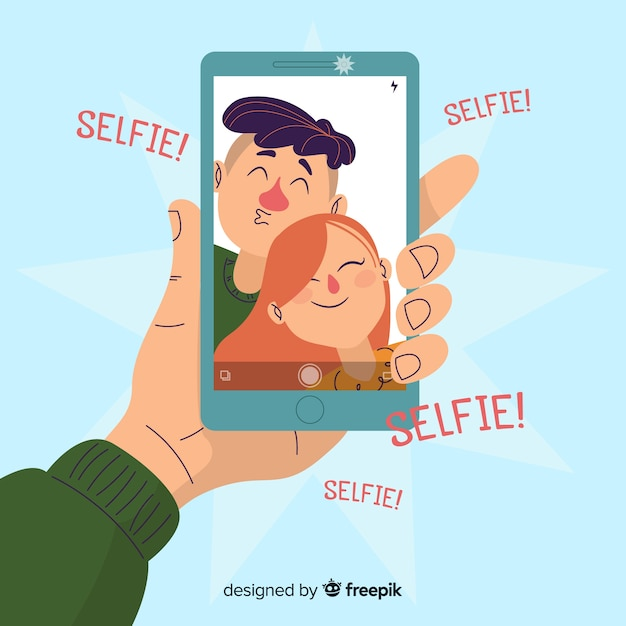 Selfieを一緒に取ってフラットなデザインのカップル 無料ベクター