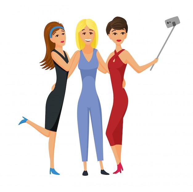 Selfie写真のベクトル図を取って幸せな笑顔若い女性の友人。自分撮りをしている友達の女の子 Premiumベクター