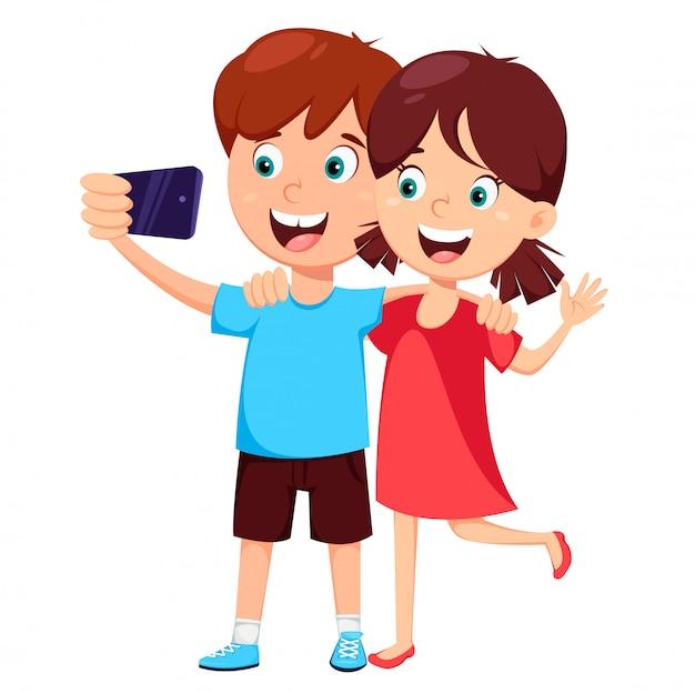 男の子と女の子のselfieを作る Premiumベクター