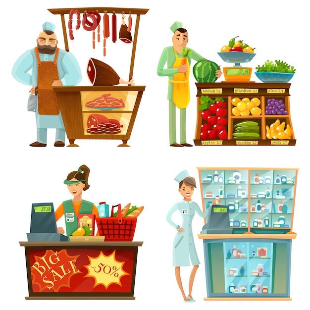 Seller counter service  cartoon compositions set Free Vector