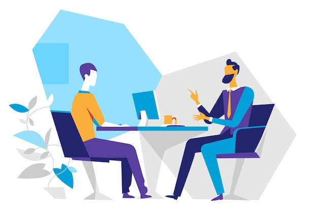 Seller and customer in the office, job interview, Premium Vector