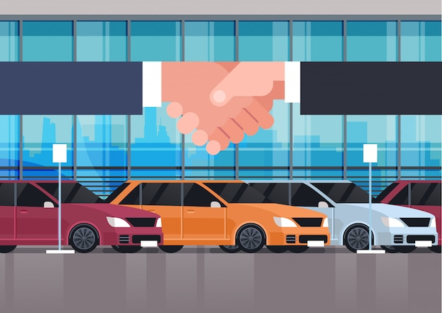 Seller man hand shaking with owner over vehicle showroom interior car purchase sale or rental concept Premium Vector
