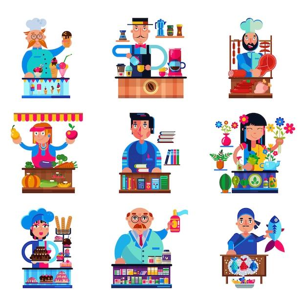 食料品店や分離された菓子の人々の販売の本屋のキャンディショップやコーヒーショップ、肉屋やパン屋の屋台イラストセットで販売する売り手ベクトルセールスマンキャラクター Premiumベクター