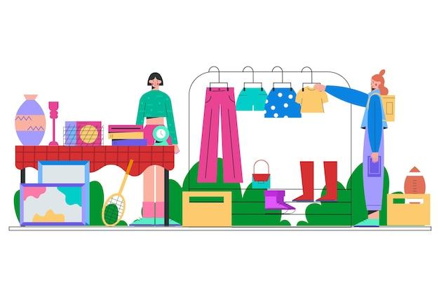 Продажа одежды на барахолке Бесплатные векторы