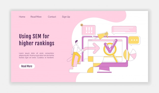 Sem landing page flat silhouette vector template. internet advertising homepage layout. search optimization strategies one page website interface with cartoon outline character. Premium Vector