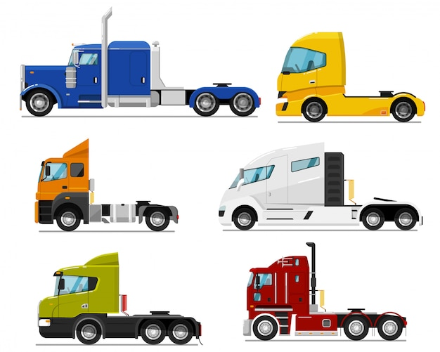 Semi truck set. isolated traction unit rig or prime mover transport for semi-trailer hauling. side view of tractor unit with cab icon collection. industrial heavy truck vehicle transportation Premium Vector