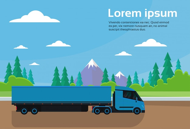 Semi truck trailer driving road in countryside over mountains landscape banner with copy space Premium Vector