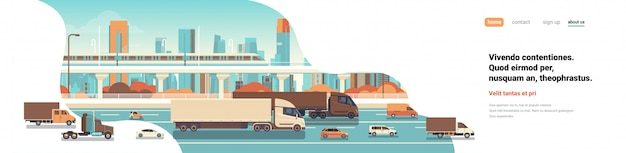 Semi truck trailers driving highway road cars lorry over city background delivery cargo concept flat copy space banner vector illustration Premium Vector