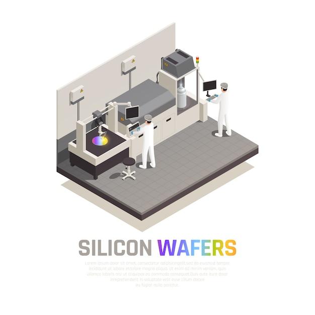 編集可能なテキストとハイテクロボットマニピュレーターを操作する人々と半導体チップ生産等尺性組成物ベクトルイラスト 無料ベクター