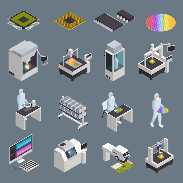 Semiconductor chip production isometric icons collection with isolated hi-tech facilities and supplies with human characters vector illustration Free Vector