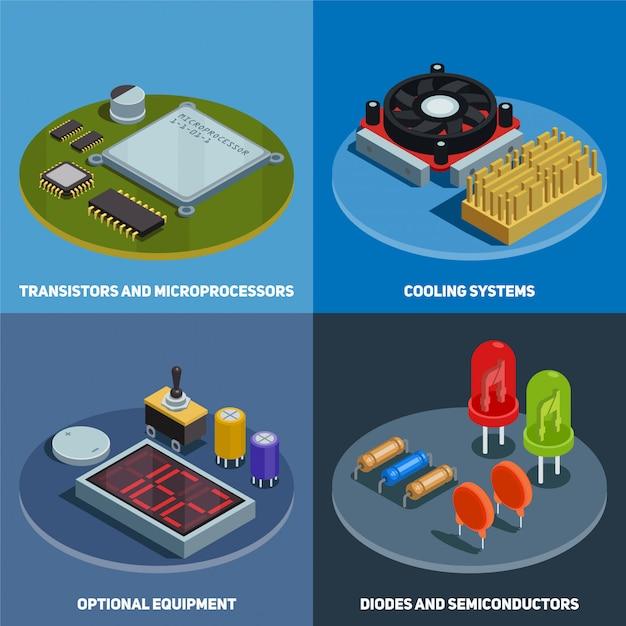 半導体コンセプトトランジスタマイクロプロセッサダイオードと冷却システムの正方形の構成等尺性のセット 無料ベクター