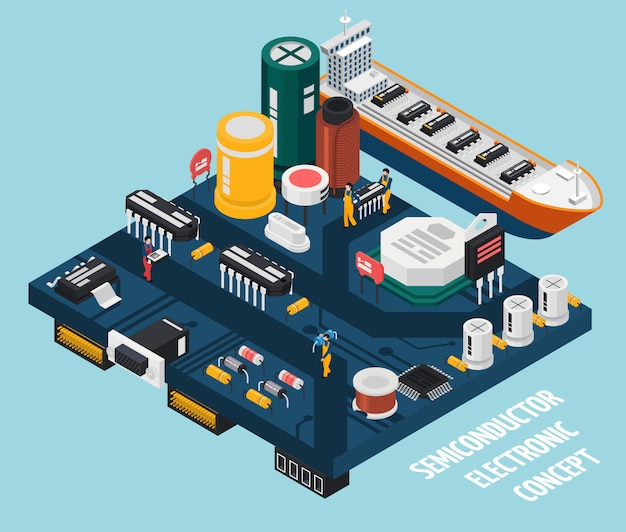 Semiconductor electronic components seaport Free Vector