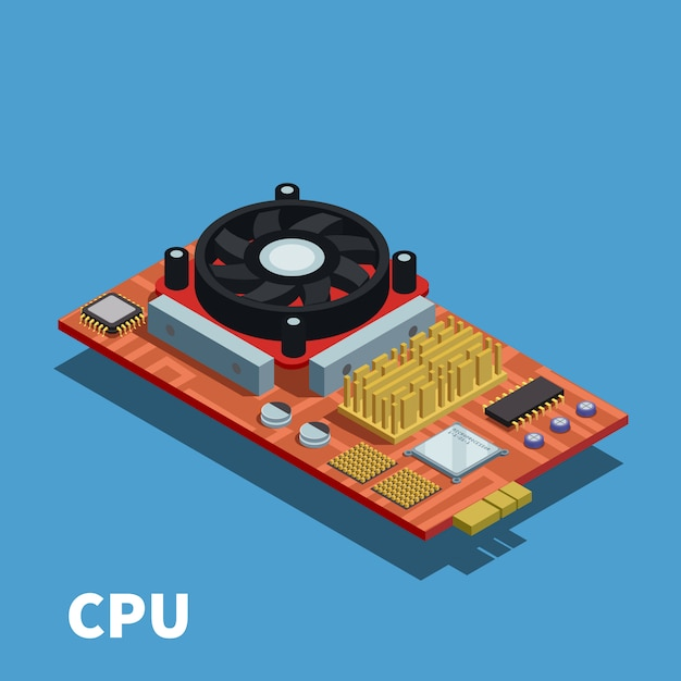 Semiconductor isometric illustration demonstrated printed circuit board with central processing unit and cooling system Free Vector