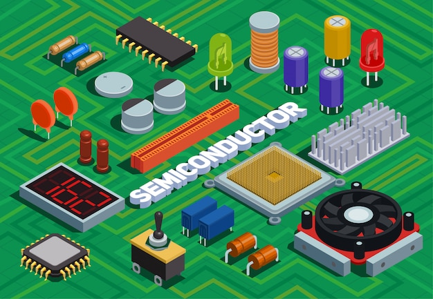 Semiconductor isometric illustration imitated printed circuit board with different electronic components of electric scheme Free Vector