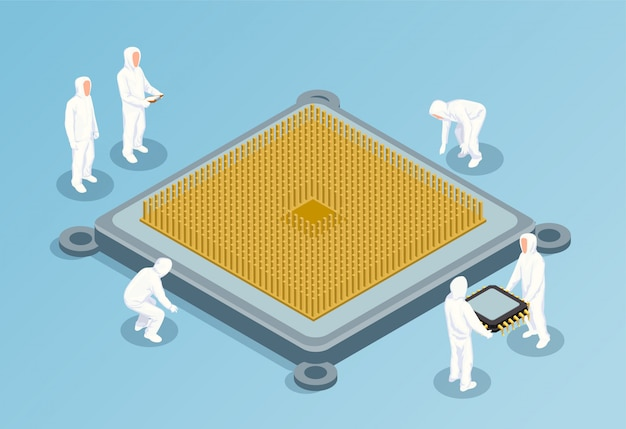 Semiconductor isometric illustration with big image of cpu in center and people in white technological clothing for clean rooms Free Vector