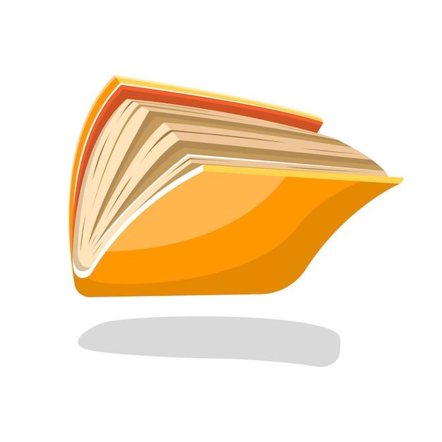 半開きの黄色い本またはペーパーバックのコピーブックが落下または飛行。白の読書グループ、図書館、教育、出版、本のようなプロジェクトの漫画イラスト。 Premiumベクター