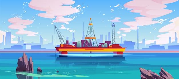 Semisubmersible platform on the sea Free Vector