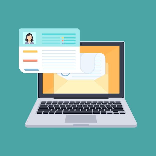 Send CV, apply for job, upload resume concept illustration Vector ...