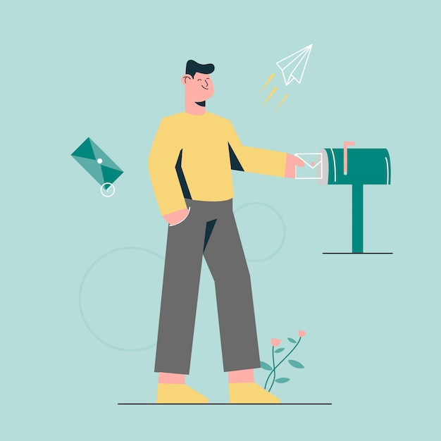 Send message for friend on mail box Premium Vector