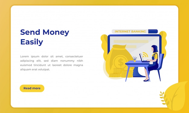 Send money easily, illustration for landing page with the theme of the banking industry Premium Vector