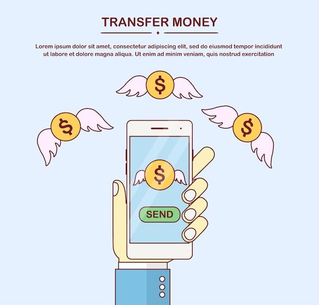 Отправляйте деньги по беспроводной сети с мобильного телефона Premium векторы