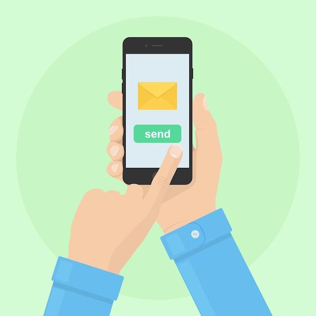 전화로 Sms, 편지, 이메일을 보내거나받습니다. 인간의 손을 잡고 핸드폰. 스마트 폰 메시지 앱 프리미엄 벡터