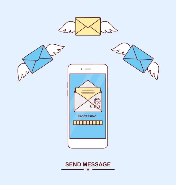 電話でメッセージを送受信します。メール通知。メッセージの配信、sms。新しい、入ってくる手紙。テキストメッセージングアプリケーションを備えたスマートフォン。飛行エンベロープ。モバイルメッセンジャーのコンセプト Premiumベクター