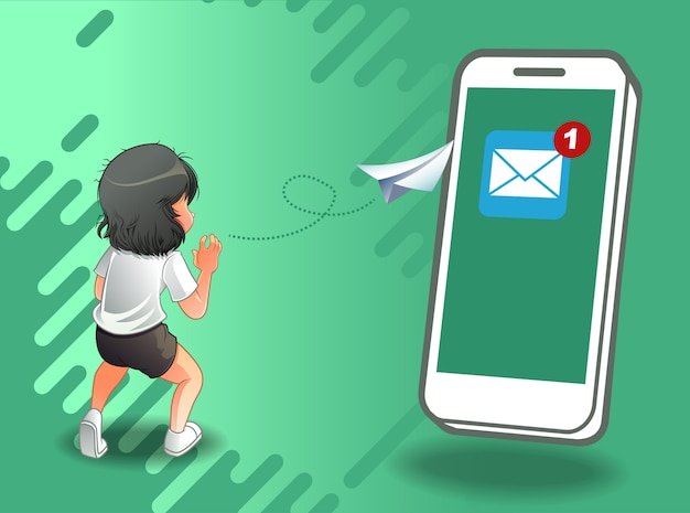 Sending mail by internet. Premium Vector