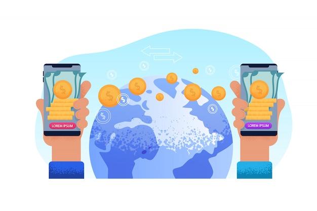 Sending world remit. technology phone hand Premium Vector