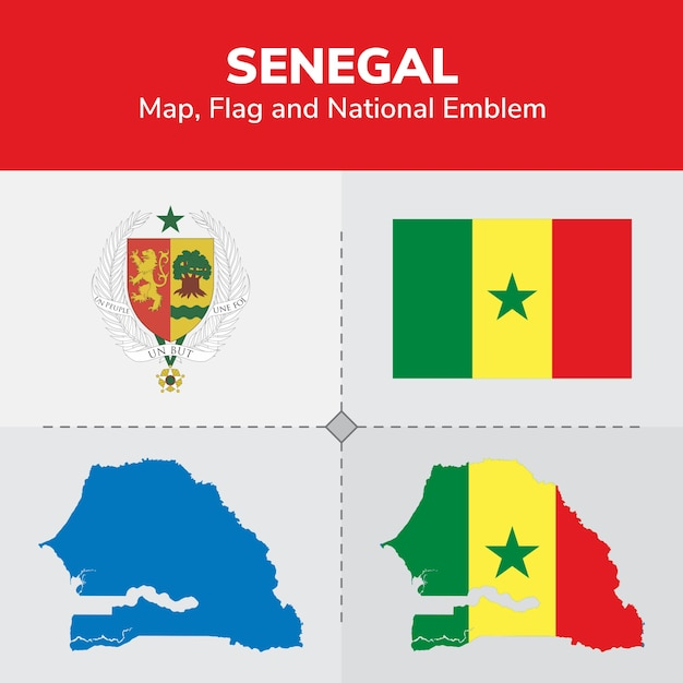 Senegal Map Flag And National Emblem Vector Premium Download - Senegal map vector