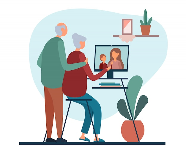 Senior cartoon couple communicating with younger relatives via computer Premium Vector