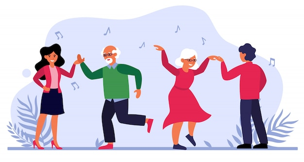 Senior couple dancing with young people Free Vector