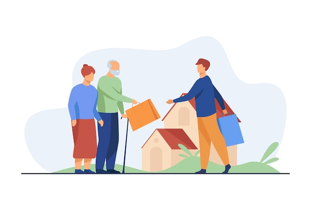 Senior couple exchanging packages with young man. house, grandfather, grandmother flat illustration. Free Vector