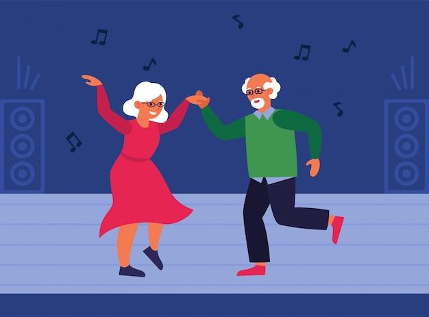Пожилая пара на танцполе Бесплатные векторы