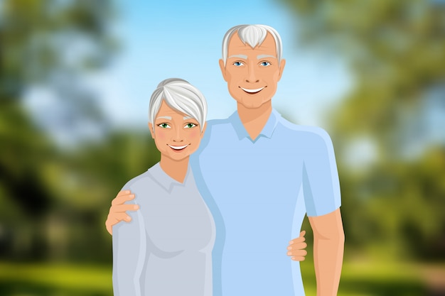 Senior couple outdoor Premium Vector