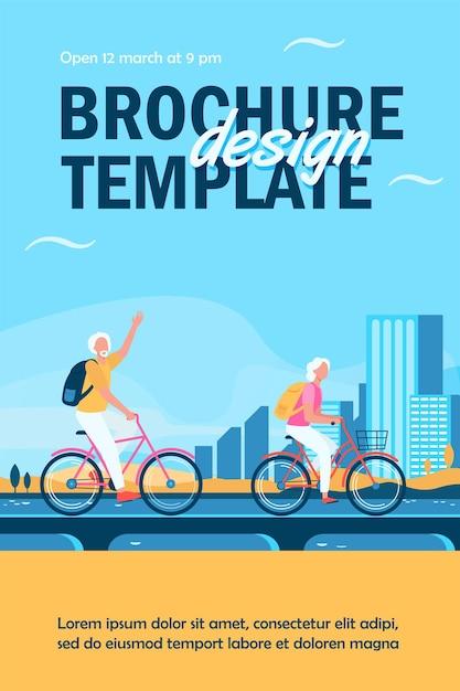 Senior couple riding bikes flyer template Free Vector
