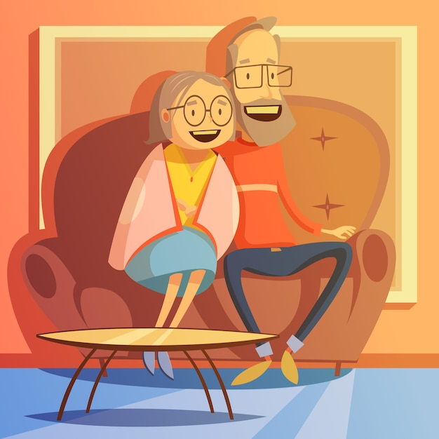 Senior couple sitting on a sofa Free Vector