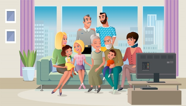 Senior couple spending time with children vector Premium Vector