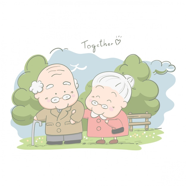 Senior couples walking together in the park Premium Vector